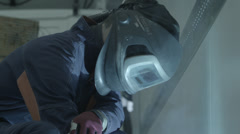 Welding Mask. Left reflection - stock footage