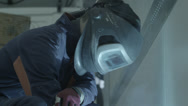 Stock Video Footage of Welding Mask. Left reflection