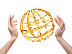 Globe from orange water with human hand isolated on white Stock Illustration