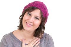 woman showing her heartfelt gratitude - stock photo