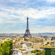 Eiffel tower landmark, view from arc de triomphe. paris, france. Stock Photos