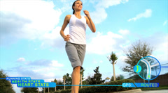 CG motion graphics animation monitor health female runner Stock Footage