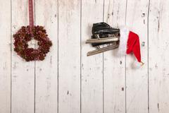 Christmas wreath on wooden wall Stock Photos