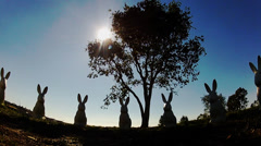 Surreal Rabbit Statues- Civic Center Park- Newport Beach CA Stock Footage