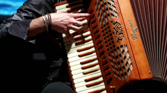 Professional Accordionist During A Concert Stock Footage