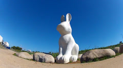 Rabbit Statue Walk Path At Civic Center Park- Newport Beach CA Stock Footage