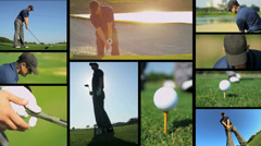 Montage of professional golfer using sand wedge successfully Stock Footage