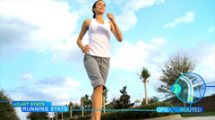 CG motion graphics animation running fitness female Stock Footage