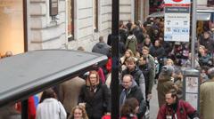 Regent Street sidewalks crowd handheld Stock Footage