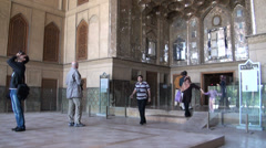 Tourists visit Chehel Sotoun Palace in Isfahan, Iran Stock Footage