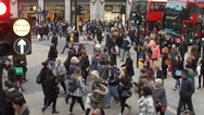 Stock Video Footage of Regent Street very busy foot traffic