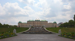 Baroque palace of Belvedere complex with fountain Stock Footage