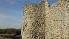 Walls of an ancient Roman fort in Portsmouth Stock Footage