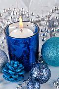 festive glitter christmas decoration silver blue - stock photo