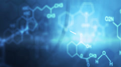 CG motion graphic of science diagrams on blue background Stock Footage