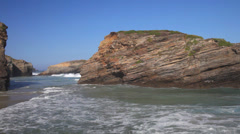 Rocks of Ribadeo and strong waves Stock Footage