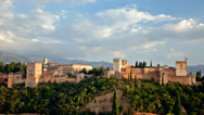 Stock Video Footage of Alhambra  castle in Andalusia in the early evening