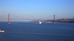 View of river Tejo and The 25 de Abril Bridge above Stock Footage