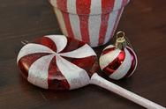 Stock Photo of red and white candy christmas ornaments