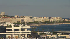 Panorama aerial view cityscape cannes travel destination french coast Stock Footage