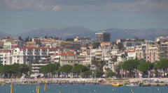 Panoramic view promenade croisette boulevard  french riviera bay port building  Stock Footage