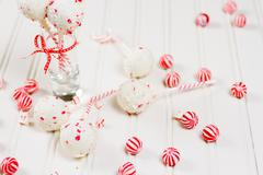 peppermint chocolate cake pops - stock photo