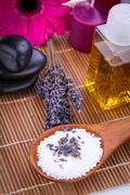 lavender massage oil and bath salt aroma therapy wellness - stock photo