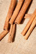 Aromatic cinnamon sticks detail macro closeup Stock Photos