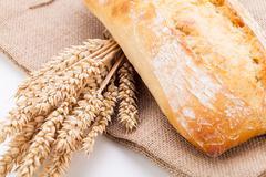 fresh baked white ciabatta bread baguette objects - stock photo