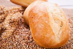 tasty fresh baked bread bun baguette natural food - stock photo