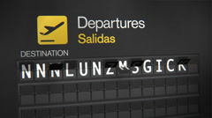 Departures Flip Sign: Central American cities Stock Footage