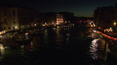 Canal Grande Rialto night 02 Stock Footage
