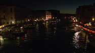 Stock Video Footage of Canal Grande Rialto night 02