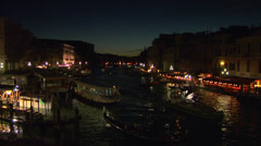 Canal Grande Rialto night 01 Stock Footage