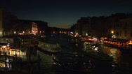 Stock Video Footage of Canal Grande Rialto night 01