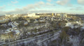 train in the winter suburb .Aerial Footage