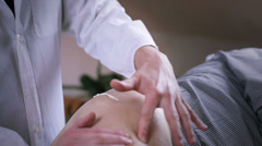 Treatment of a scar with cream Stock Footage