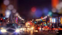 Stock Video Footage of Night traffic on Hollywood Boulevard in Los Angeles. Timelapse.