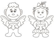 Stock Illustration of girl and boy angels with hearts, contours