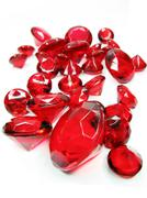 red ruby gem stones crystals - stock photo