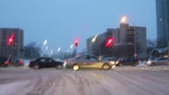 Snow storm, winter storm, slippery roads Stock Footage