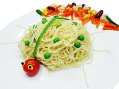 creative pasta food lady-bird shape - stock photo