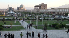 Iran, overview of Imam Square in Isfahan at dusk Stock Footage