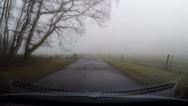 Stock Video Footage of Vehicle shot in mist, narrow road in Dutch countryside