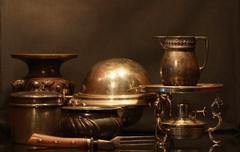 vintage dishware - stock photo