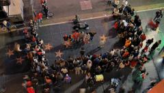 People crowd watching street performers show on Hollywood Walk of Fame. Timelaps Stock Footage