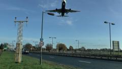 Plane landing at London Heathrow Airport, UK. Stock Footage