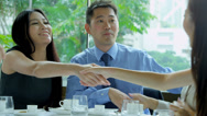Stock Video Footage of Multi Ethnic Corporate Executives Congratulations Restaurant Meeting