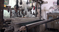 Traditional carpet weaving in Iran Stock Footage