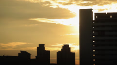 Sunset silhouette of flats Stock Footage